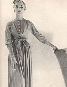 Horrockses rayon jersey dress from Vogue Feb. 1953.