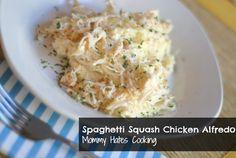 Spaghetti Squash Chicken Alfredo - spaghetti squash, chicken breast, reduced fat cream cheese, skim milk, garlic salt, parsley