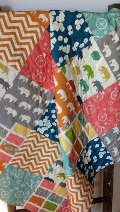 Gender Neutral Baby Quilt Modern Organic Mod Basics by CoolSpool, $125.00