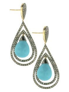 14K Yellow Gold Post and Oxidized Silver Brick Turquoise and Pave Diamonds Double Teardrop Pierced Earrings at Jennifer Miller