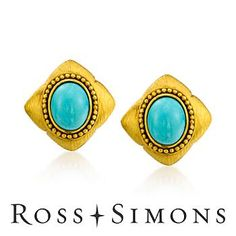 C. 1980 Vintage Turquoise Earrings In 18kt Yellow Gold Romantic Gifts