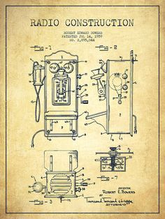 Radio Drawing - Bowers Radio Patent Drawing From 1959 - Vintage by Aged Pixel