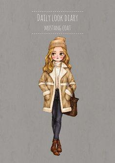 Daily look diary - Mustang Coat by 애뽈 on Grafolio Girl Cartoon, Cartoon Art, Forest Girl, Love Illustration, Pastel Art, Illustrations, Portfolio, Daily Look, Doll Face