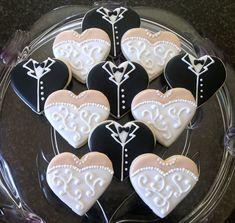 Wedding Dress and Tuxedo Heart Sugar Cookies- Set of 24. $72.00, via Etsy.
