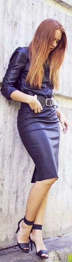 Street style | Deep purple belted button up leather dress
