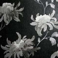 Fabulous Black wallpaper available to buy online. A black modern wallpaper by Julien Macdonald at best online price. Gothic Wallpaper, Dark Wallpaper, Modern Wallpaper, Embossed Wallpaper, Paper Wallpaper, Wallpaper Samples, Flower Wallpaper, Wallpaper Backgrounds, Tropical Wallpaper