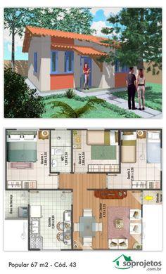 EXCELENTE RESIDÊNCIA PADRÃO POPULAR. 67 METROS QUADRADOS.  Residência de 3 dormitórios com 1 banheiro. Com sala de estar e jantar conjugados. Cozinha e área de serviço. Telhado em 3 águas.