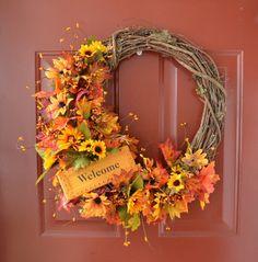 Fall/Autumn Decorative Wreath on Etsy, $45.00