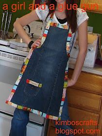 Apron made from a pair of jeans