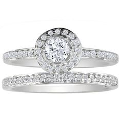 1/2ct Pave Diamond Bridal Engagement Ring Set in 14k White Gold ( GH I1 ) With Free Blitz Jewelry…