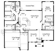 Okay plan, make laundry room into another bath, 3rd garage stall into a HUGE pantry, laundry room, mud room with built in coat cubbies, the dining into a kids playroom, the living room into an office, the nook into dining, SWING the entire house around (180'), add half the covered porch space into the dining and family making it massive, then ad a wrap around porch to what is now the front of the house and drive around back to garages!