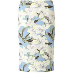 Miss Selfridge Blue Floral Midi Skirt ($18) ❤ liked on Polyvore featuring skirts, blue, floral skirt, floral print skirt, calf length skirts, blue knee length skirt and mid calf skirts