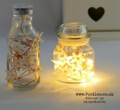 Stampin' Up! Demonstrator Pootles – Blossom Builder Yankee Jar Fairy Light Jar It's just too pretty! I adore lights inside bottles and jars, and in general, I like fairy lights (s… Bottle Fairy Lights, Fairy Lights In A Jar, Jar Lights, Mason Jar Crafts, Mason Jar Lamp, Yankee Candle Small Jar, Illumination Art, Bottles And Jars, Love And Light