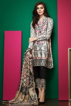 Nice Casual Hijab Outfit Khaadi – - Lawn 2017 Vol 1 - Unstitched. Pakistani Casual Wear, Pakistani Dress Design, Pakistani Outfits, Indian Outfits, Pakistani Clothing, Eastern Dresses, Desi Clothes, Asian Clothes, Desi Wear
