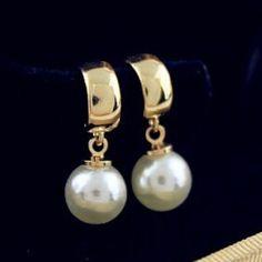 Mode Nouvelle Femelle Haute Qualité Ronde Boucle D'oreille Or-Couleur Longue Perle Boucles D'oreilles Pour Les Femmes Joaillerie De L'inde