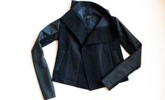garde jacket with lovely thin leather sleeves and architectural collars