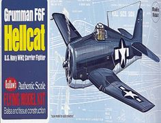 The Guillows 1/32 Grumman F6F Hellcat is a balsa wood aircraft model kit from the range manufactured by Guillow.  Successor to the Grumman Wildcat, the F6F Hellcat made history in 1942 when it decisively whipped the Japanese carrier based fighters opposing it in the Pacific during World War 2. First Flown on July 26th of that year, the Hellcat was the result of specifications laid down by a large group of fighter pilots polled by the officials of the Grumman Aircraft Company.