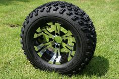 "12""x7"" MACHINED/BLACK VAMPIRE WHEELS and 23""x10.5""-12"" ALL TERRAIN TIRES (SET OF 4)"