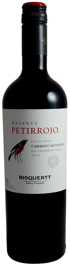 Bisquertt Petirrojo Reserva Cabernet Sauvignon  from Chile. A red wine with aromas of red fruits and chocolate with hints of black pepper. The flavours are black berries and ripe plums.