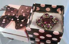 Pretty Czech Filigree Vintage Brooch Purple Stones in Uhren & Schmuck, Modeschmuck, Broschen & Anstecknadeln | eBay