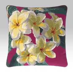 """Frangipani - Ehrman TapestryBy Natalie Fisher.  17"""" x 17"""". 43 cm x 43 cm. 10 holes to the inch. Ehrman wools.  Included in the Kit The kits include a 100% cotton canvas printed in full colour, all the yarns required (100% pure new wool), a needle and an easy to follow guide to get you underway."""