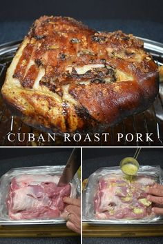 In Cuban Culture, roast pork (lechon asado) is the meal served on all special occasions. Christmas, Weddings, New Year's… roast pork is on the menu. This is a traditional recipe using a homemade mojo marinade. Roast pork is a two-day event. The pork needs Cuban Dishes, Pork Dishes, Indian Dishes, Spanish Dishes, Side Dishes, Cuban Pork Roast, Pork Roast Marinade, Roast Pork Dinner, Cuban Mojo Marinated Pork