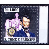 S. Tome MNH Odd Silver Stamp, Lincoln, US President, Red Cross, Embossed Unusual