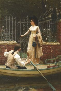 I wish this had a different name... for a guy dressed like that taking a girl out for a ride is pretty much perfect. The Elopement - Edmund Blair Leighton