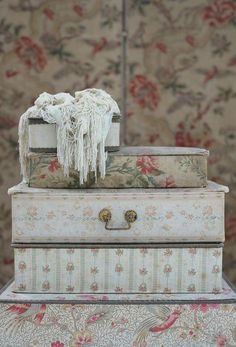 Beautiful faded antique large French fabric by WhiteandFaded Fabric Covered Boxes, Shaby Chic, French Fabric, Old Boxes, Vintage Storage, Altered Boxes, Vintage Box, Fabric Wallpaper, Vintage Colors