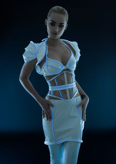 32 A/B Black PVC with luminescent icy blue by ArtificeClothing, $95.00