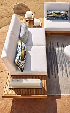 San Remo's low-slung, born-for-lounging seating group recalls the pure lines of a platform bed. Modern Outdoor Living, Lounge Seating, Cushion Fabric, Platform Bed, Foot Rest, Floor Chair, Pools, Townhouse, Love Seat