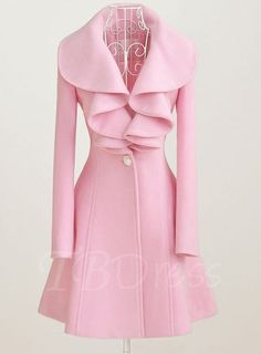 de4d3882efb Multi Solid Color Long Sleeve Falbala Women s Overcoat Pink Peacoat