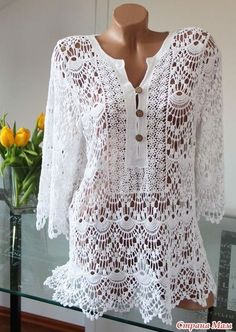 Look people who beautiful white blouse made in crochet pattern, she is very charming and quite lately used in chic events, every detail is...