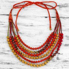 Recycled Silk Sari Beaded Necklace from India - Golden Tropicana | NOVICA