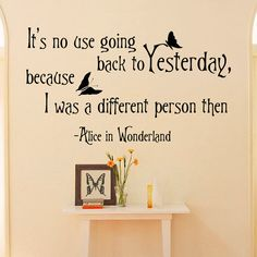 Alice In Wonderland Wall Decals Quotes It's No by FabWallDecals