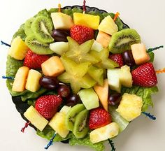 Fruit Trays | Antipasto Trays ~ with salami, cheeses, vegetables and variety olives