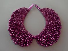 Handmade violet Peter Pan pearl collar, necklace in vintage style