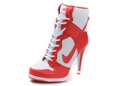 Womens white and red nike heels dunk sb high nikki bella shoes, louboutin shoes, Nike High Heels, High Heel Sneakers, Sneaker Heels, High Heel Boots, Womens High Heels, Heeled Boots, Shoe Boots, Heeled Trainers, Nike Sneakers