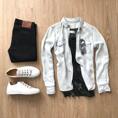 mens jeans bootcut 34 x 30 Dope Outfits, Casual Outfits, Korean Fashion, Mens Fashion, Outfit Grid, How To Look Classy, Mens Clothing Styles, High Jeans, Dress Codes