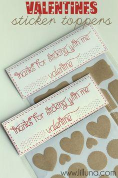 Valentines Sticker Toppers - cute idea!! Free prints on { lilluna.com } #valentines