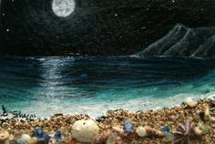 Moon Glow I ACEO art cardeditionsand original matted by ainakauai, $55.00