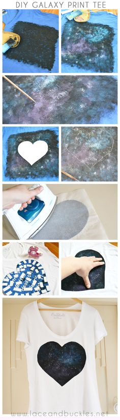 DIY galaxy print love heart shirt tutorial - super easy to make with things you probably have around the house!