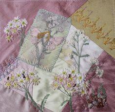 I ❤ crazy quilting & ribbon embroidery . . . Flower Fairy DYB- My work on Cathy´s Yarrow Fairy block. ~By Ritva Peltola