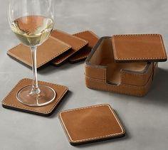 Beckett Leather Coasters #potterybarn