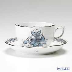 My obsession with fine bone china continues.  Herend Apponyi Platinum Turquoise Teacup and Saucer