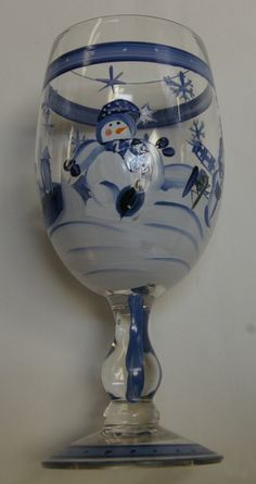 Snowman Hand Painted Wine Glasses Goblets Set of 4 on Etsy, $35.00