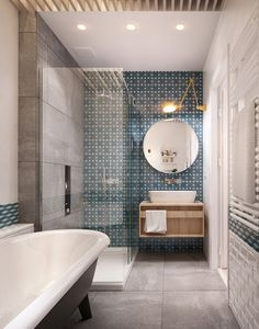 Carreaux de ciment mur salle de bain via int2architecture