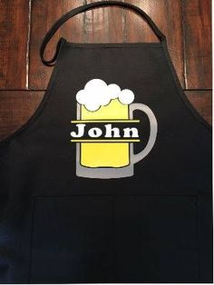 Apron for men, Personalized Beer BBQ Apron, Beer Lover Gift, Grilling Barbecue Apron, Mens Dad Custom Apron, Gift for Dad, Fathers Day Gift