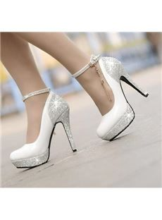 Buy 2014 lady's Sexy High Heels pumps women fashion PU heel shoes at Wish - Shopping Made Fun Sparkly High Heels, Prom Heels, Lace Up Heels, Ankle Strap Heels, Ankle Straps, White High Heels, Platform High Heels, High Heel Pumps, Women's Pumps