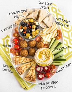 How to make an easy vegetarian mezze platter - with hummus, falafel, pitta bread, olives, and lots more. dinner greek How to make an easy vegetarian mezze platter – Easy Cheesy Vegetarian Hummus Platter, Meze Platter, Mezze Platter Ideas, Antipasti Platter, Antipasto, Feta Stuffed Peppers, Vegetarian Recipes, Cooking Recipes, Vegetarian Platter